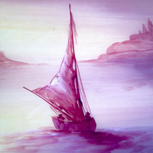 Plateau en bois décor bateau