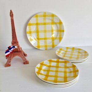 Assiettes plat nappe jaune