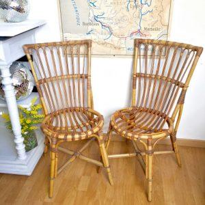 2 chaises en rotin