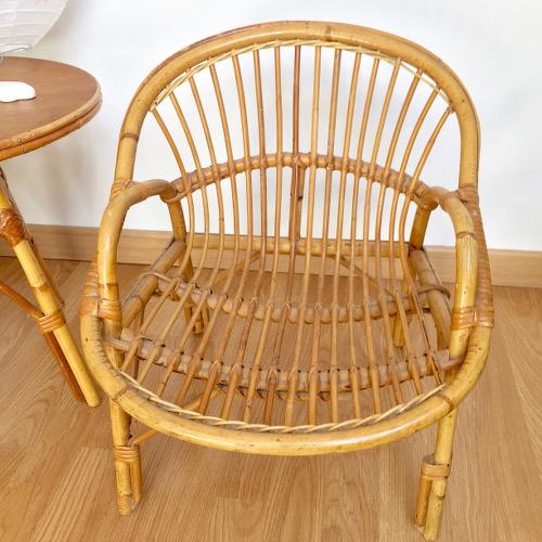 Ensemble table fauteuil enfant rotin