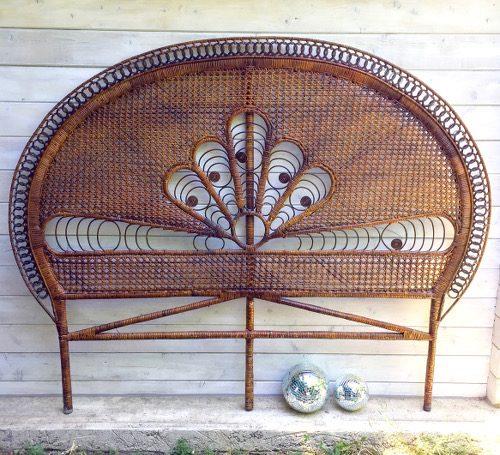 Grande tête de lit rotin peacock