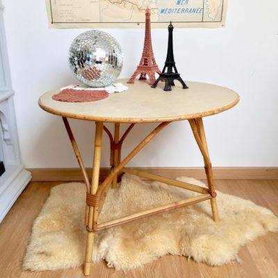 Table basse tripode rotin