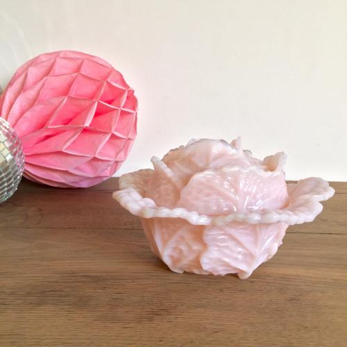 Bonbonnière opaline rose de Portieux