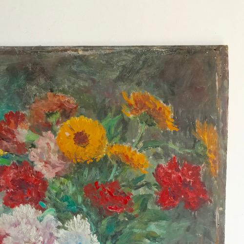Peinture bouquet sur carton