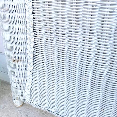 Tête de lit en rotin blanc