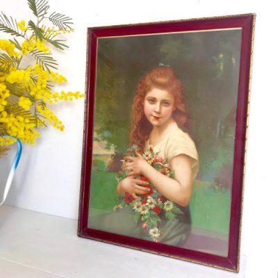 Chromo jeune fille au bouquet