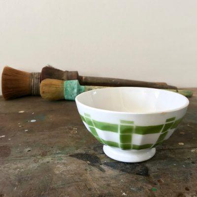 ancien bol décor vert