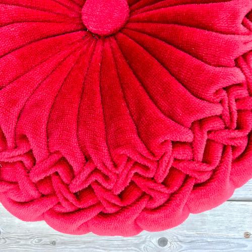 Coussin plissé velours rouge