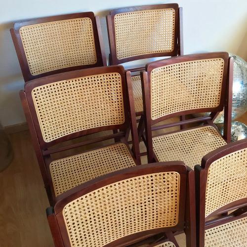 Chaises pliantes bois et cannage