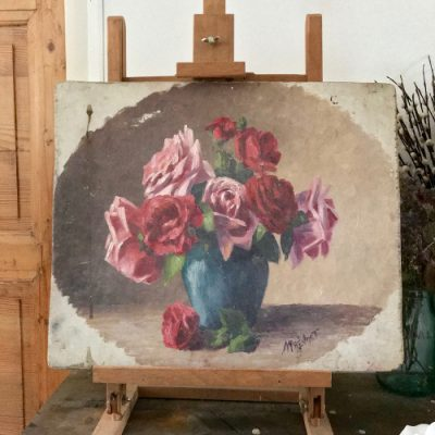 Huile sur panneau bouquet de roses