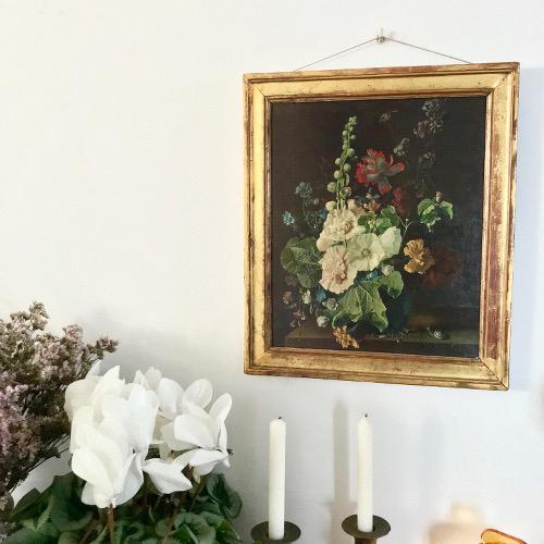 Huile sur toile Roses trémières