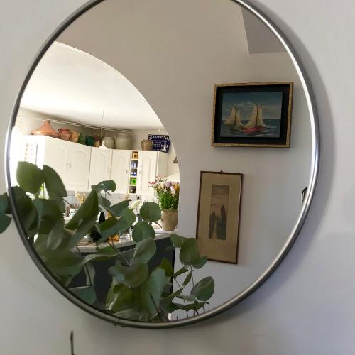Miroir de barbier rond