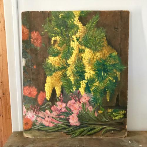 Huile sur panneau bouquet de mimosa