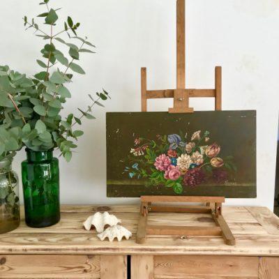 Huile sur panneau Fleurs