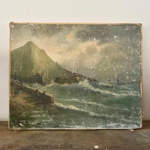 Huile sur toile scène marine