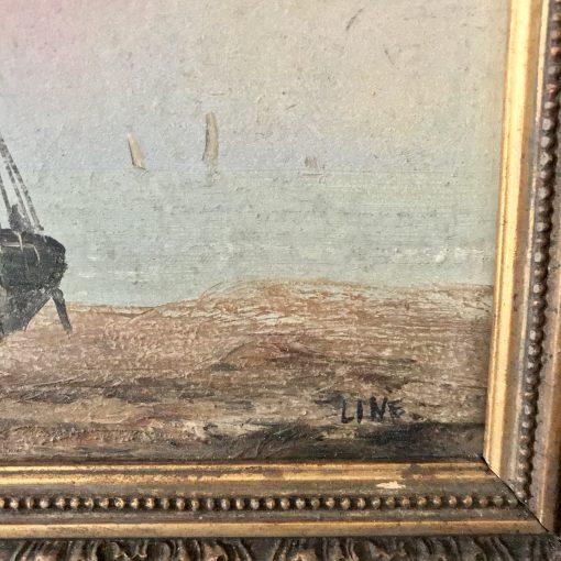 Huile sur carton scène marine