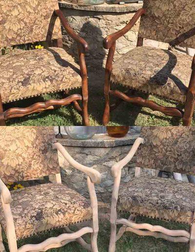 Décapage d'anciens fauteuils - avant et après