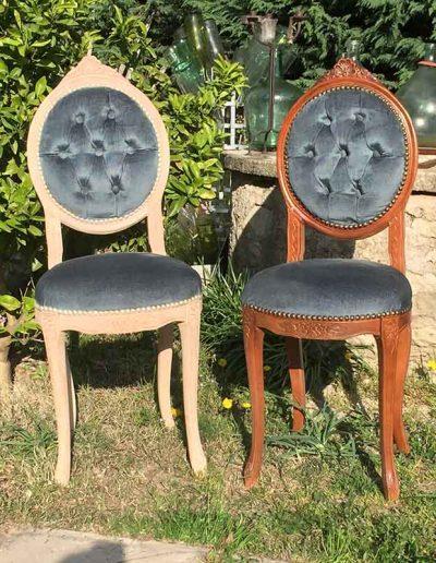 Décapage de chaises - avant et après