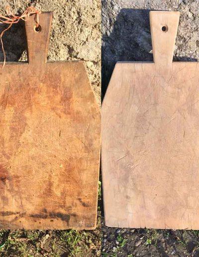 Décapage d'une planche en bois - après