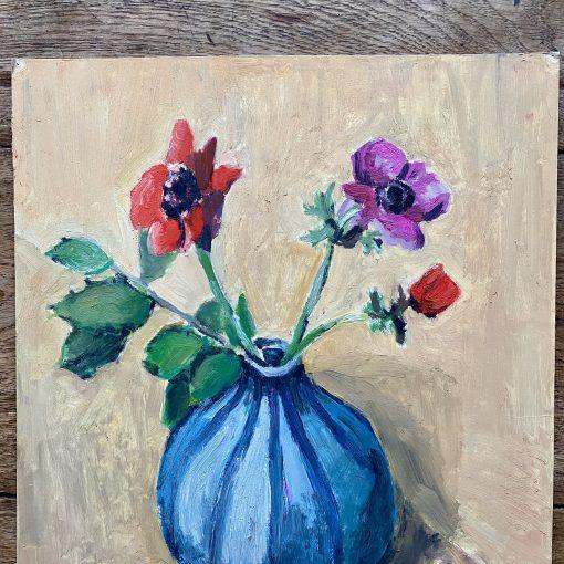 Huile sur carton bouquet de fleurs