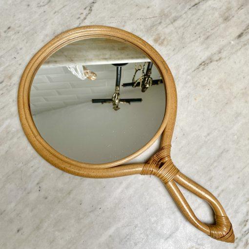 Miroir à main en rotin