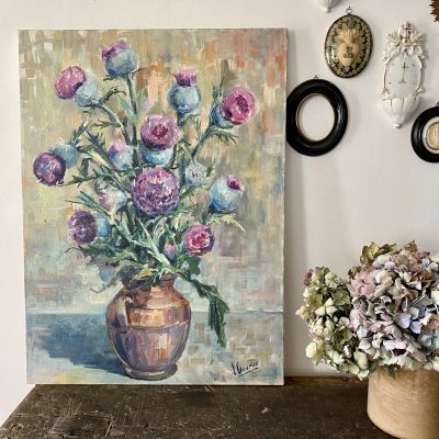 Peinture bouquet de chardons